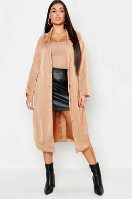 boohoo Plus Duster Tie Waist Coat