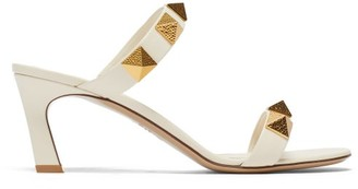 Valentino Upstud Point-toe Leather Sandals - Ivory