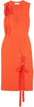 Rebecca Vallance Lace-up Cutout Crepe Dress