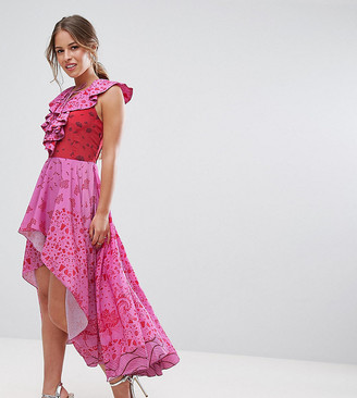 White Cove Petite High Low Lace Up Maxi Dress With Tassel Detail-Pink