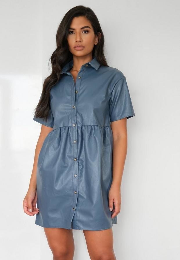 Missguided Blue Faux Leather Oversized Smock Dress