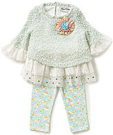 Rare Editions Baby Girls 3-24 Months Floral-Applique Top & Leggings Set