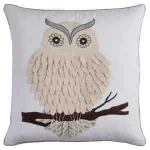 """Rizzy Home 20"""" x 20"""" Owl Pillow Cover"""