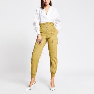 River Island Beige drawstring waist cargo trousers