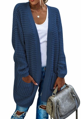 Bequemer Laden Women's Long Sleeve Open Front Chunky Cable Knit Cardigan Outwear Sweaters with Pockets Navy Blue
