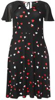 Evans Black Heart Print Fit And Flare Dress