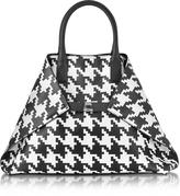 Akris Ai Medium Black and White Pied de Poule Printed Leather Tote Bag