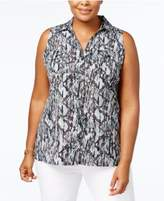 NY Collection Plus Size Printed Sleeveless Shirt