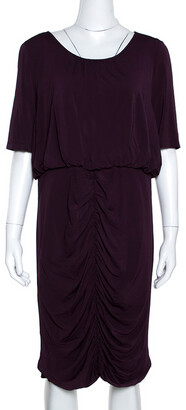 Burberry Purple Jersey Ruched Short Sleeve Midi Dress XL