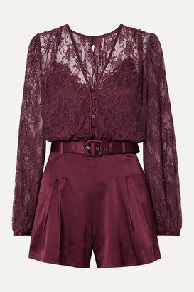 Jonathan Simkhai Belted Satin And Stretch-silk Lace Playsuit - Burgundy
