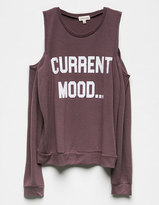 COSMIC LOVE Current Mood Womens Cold Shoulder Sweatshirt