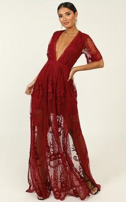 Showpo Love Spell Maxi dress in wine lace - 12 (L) Dresses