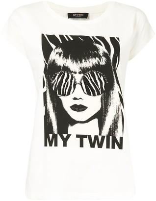Twin-Set My Twin print stud detail T-shirt