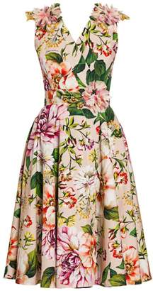 Dolce & Gabbana Sleeveless Floral Applique Fit-&-Flare Dress