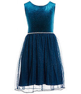 Xtraordinary Big Girls 7-16 Glitter Velvet Fit-And-Flare Dress