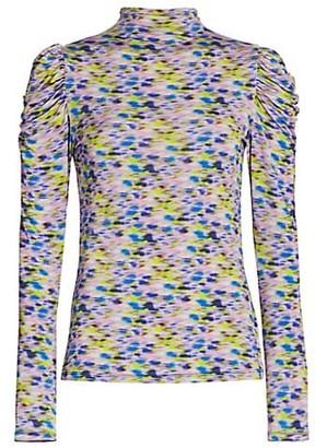 Tanya Taylor Adonica Long-Sleeve Turtleneck Printed Top
