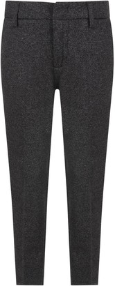 Dondup Grey Pants For Boy With Black Side Stripes