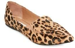 c08cc258646 Feather Leopard Print Calf Hair Loafers