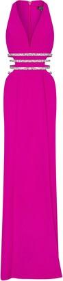 Aidan Mattox Crepe Cutout Long Dress