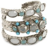 "Sorrelli Aegean Sea"" Pacific Opal, Light Gray Opal, Turquoise, Adjustable Ring"