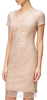 Adrianna Papell Sequin Lace And Organza Cap Sleeve Cocktail Dress