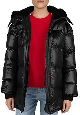 The Kooples Quilted Faux-Fur Lined Hood Down Coat