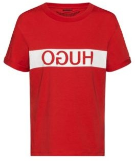 HUGO Reverse-logo slim-fit T-shirt in Recot cotton