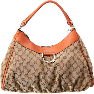 Gucci Brown Gg Canvas & Orange Leather D-Ring Hobo Bag
