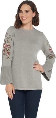 Susan Graver Cotton Acrylic Embroidered Bracelet Sleeve Sweater