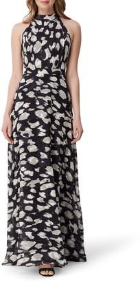 Tahari Animal Print Halter Neck Gown
