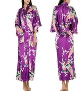 EFLM Women's Robes Peacock and Blossoms Silk Nightwear Long Style (XL, )