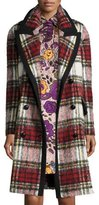 Burberry Plaid Wool/Mohair-Blend Coat, Elderberry