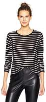 Majestic Filatures Women's Cashmere Striped Long Sleeve Crew Neck Tee