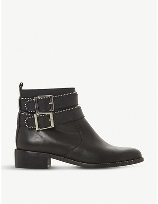 Dune Pabblo studded buckle leather boots