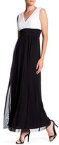 Marina Plunging Colorblock V-Neck Chiffon Gown