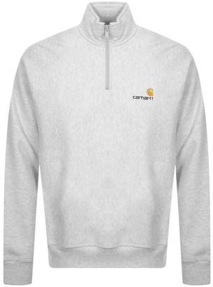 Carhartt Half Zip Script Logo Sweatshirt Grey