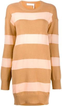 Chloé Striped Camel And Pink Knit Dress