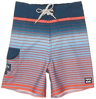 Billabong Kids All Day Stripe Pro Swim Shorts (Toddler/Little Kids) (Neon Melon) Boy's Swimwear