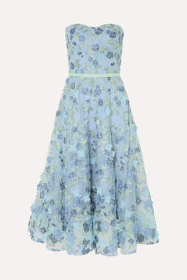 Marchesa Strapless Satin-trimmed Appliqued And Embroidered Tulle Gown - Light blue
