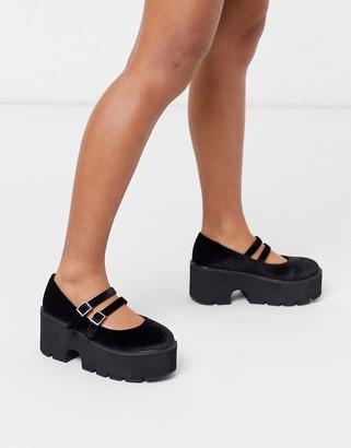 Asos Design DESIGN Milo chunky mary jane flat shoes in black velvet