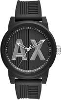 Armani Exchange Men's Black Textured Silicone Strap Watch 46mm AX1451