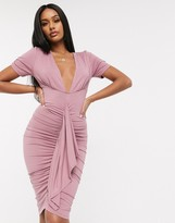 Asos Design DESIGN ruched bodycon midi dress with plunge neck in mauve pink