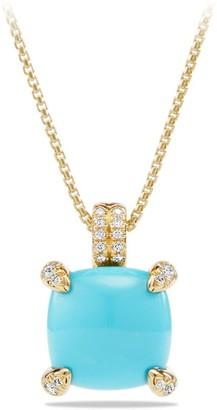 David Yurman Chatelaine Pendant Necklace with Gemstone & Diamonds in 18K Yellow Gold/11mm