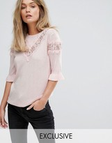 Warehouse Lace Insert Lightweight Sweater