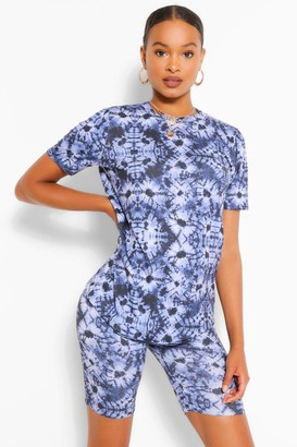 boohoo Tie Dye T-Shirt & Cycling Short Co-ord Set
