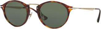Persol PO3166S Calligrapher Edition Oval Sunglasses, Tortoise/Dark Green