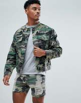 SikSilk Collarless Muscle Denim Jacket In Camo With Distressing