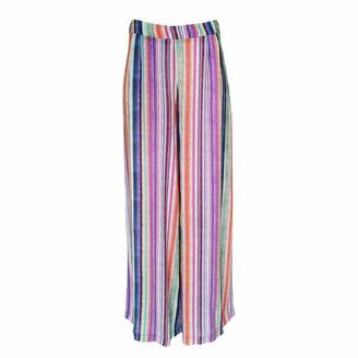 Lalipop Design Straight Wide-Legged Multicolor Striped Viscose Pants