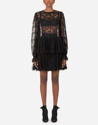 Dolce & Gabbana Ruffled Short Lace Dress