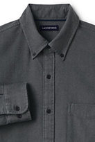 Classic Men's Tailored Fit Long Sleeve Solid Flagship Flannel Shirt-Dark Charcoal